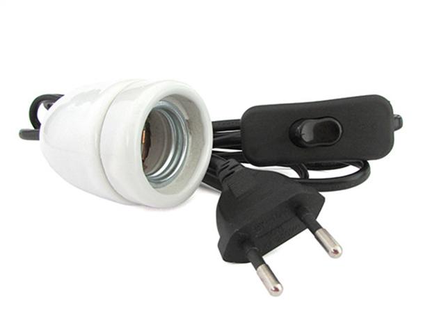 Kit prova per lampada led e27 con interrutore spina filo for Lampada led lunga